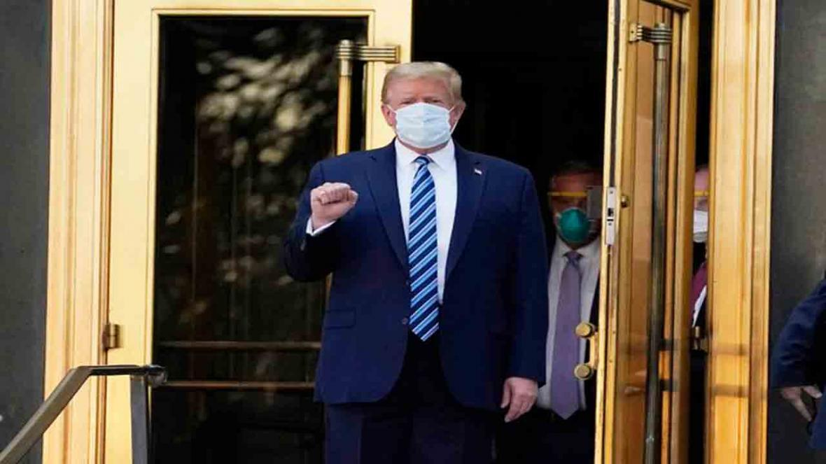 لحظه خروج ترامپ از بیمارستان والتر رید و بازگشت به کاخ سفید