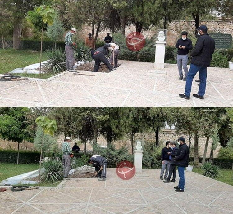 (ویدئو) آماده سازی محل دفن استاد شجریان در آرامگاه فردوسی